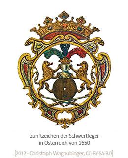 Zunftzeichen: unter einer Krone 2 Löwen, Schleifstein und 2 gekreuzte Schwerter