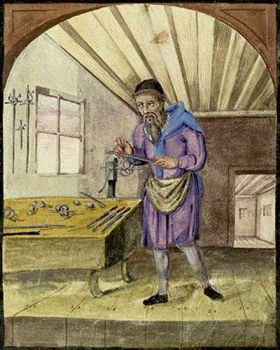 Buchmalerei: Mönch feilt an einem im Schraubstock eingespannten Schwertgriff - 1603