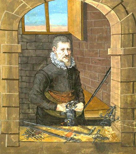 Buchmalerei: Bruder bearbeitet Schwertgriff am Schraubstock - 1649