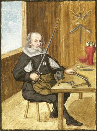Buchmalerei: Bruder mit Schwert und Polierstab