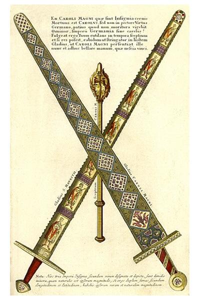 kolorierter Kupferstich: Reichsschwert, Zermeonienschwert und Zepter] - 1755