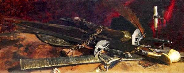 Gemälde: Stillleben mit Schwertern