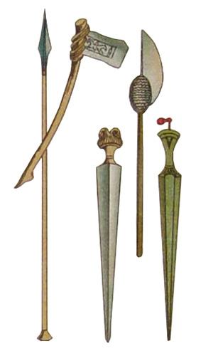 Farblitho: altägyptische Waffen