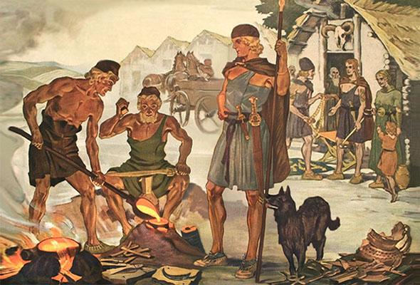 Farblitho: vor Dorfhintergrund wird Altmetall eingeschmolzen und zu neuen Schwertern verarbeitet