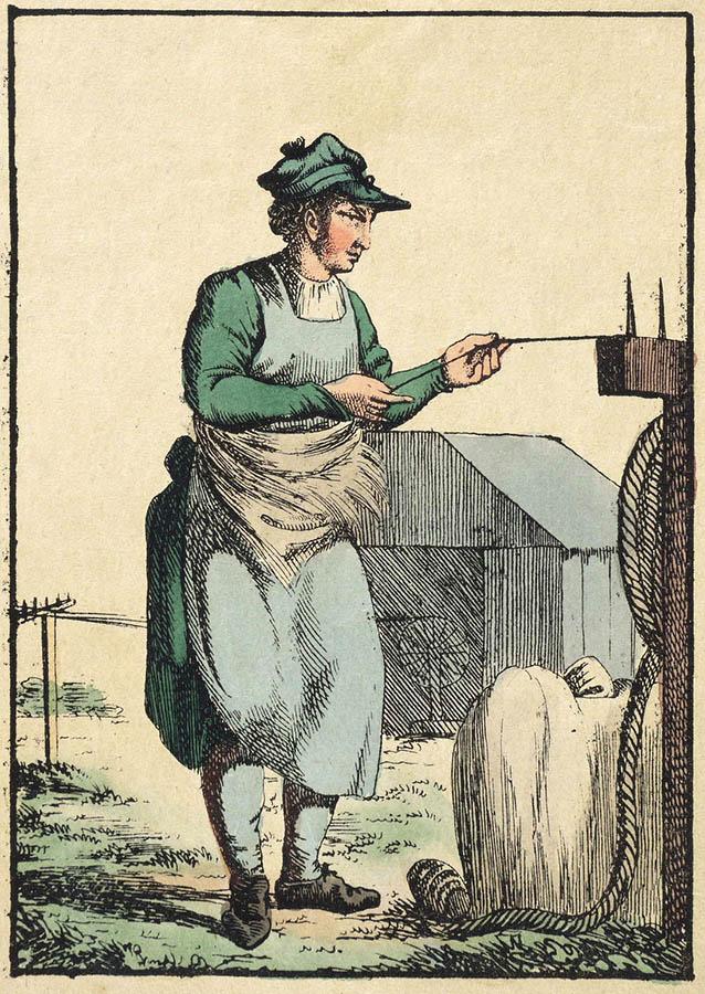 kolorierte Zeichnung: Mann zieht ein Seil