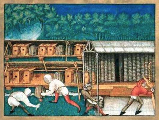 Aquarell: Gestelle mit Bienenkörben und -kästen und 4 geschäftige Imker