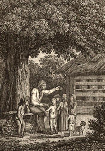Kupferstich: Imker im Baumschatten von Kindern umringt, dahinter Bienenhaus mit Körben