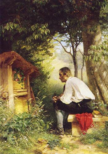 Gemälde: auf Bank sitzend beobachtet Mann das Treiben am Bienenhaus