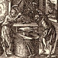 Kupferstich: zwei mittelalterliche Schwertner