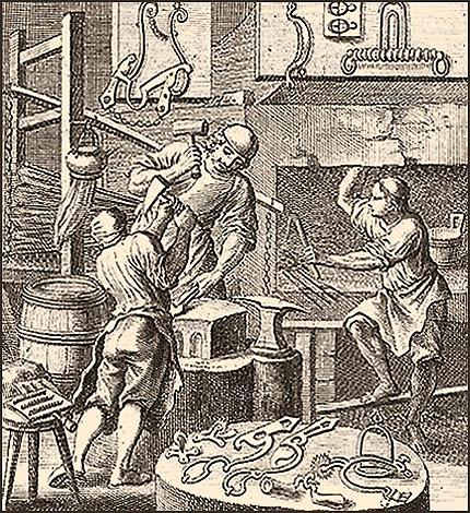 Kupferstich: Sporer und zwei Gehilfen bei der Arbeit - 1698