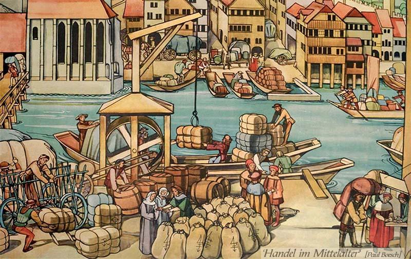 Lehrtafel: diverse Handeltreibende in mittelalterlicher Stadt - 1942, CH
