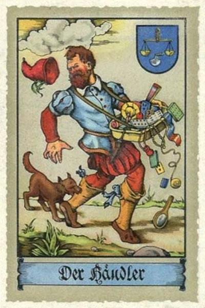 Farblitho: Hund beißt Wanderhändler ins Bein, Sachen fallen aus Bauchladen - 1575