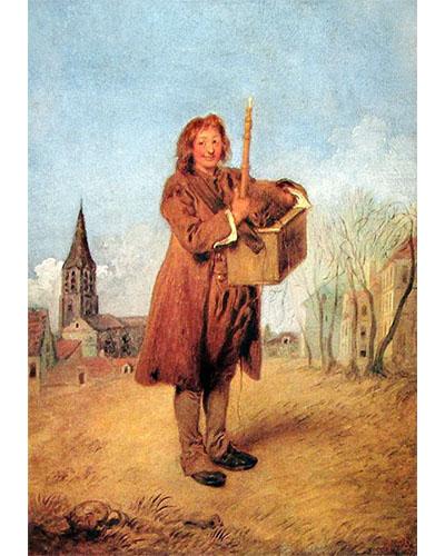 Gemälde: junger Savoyarde mit Flöte und Murmeltier auf Tragkiste - 1716, Frankreich