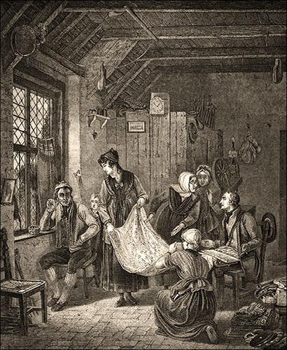 Holzstich: In französischen Stube begutachten mehrere Frauen von Händler offerierte Stoffe - 1850