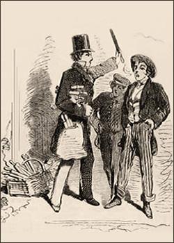 Zeichnung: Bostoner Feilenverkäufer und zwei Interessenten auf der Straße - 1858