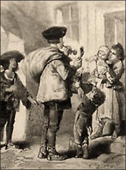 getuschte Zeichnung: Spielzeugverkäufer umringt von Kindern und Frauen - 1873, Österreich