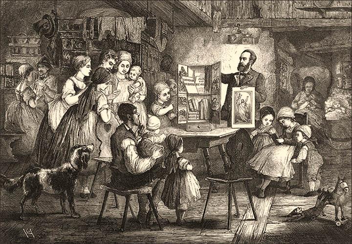 Holzstich: Händler zeigt um Tisch versammelter Großfamilie Heiligenbilder - 1876