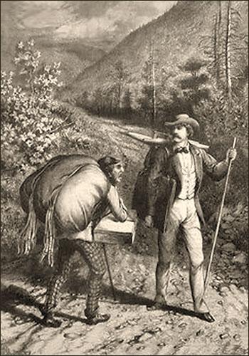 sw Gemäldefoto: franz. Händler mit großem Warenbündel auf dem Rücken begegnet einem Maler in den Bergen - 1881