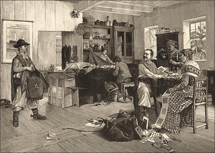 Holzstich: einem ankommenden ist ein bereits anwesender Händler zuvor gekommen