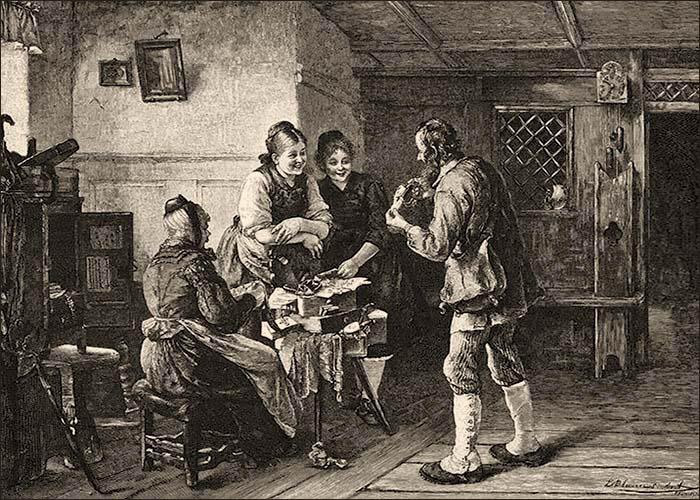 Holzstich: In Kammer begutachten drei Frauen von Kurzwarenhändler angebotene Sachen - 1885