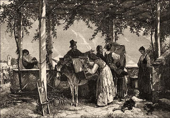 Holzstich: reisender Händler mit Esel bietet im Baumschatten verschiedene Waren an - 1888