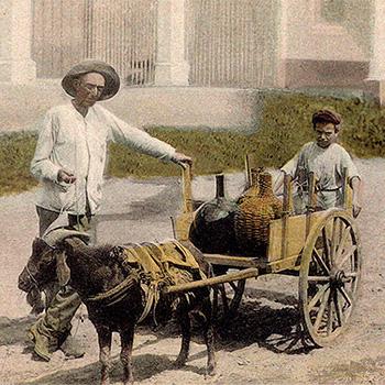 koloriertes Foto: Rumhändler mit Ziege vor Zweiradkarren