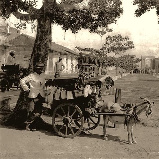sw Foto: spanischer Händler mit Ziegenkarren in Baumschatten wartend - 1895