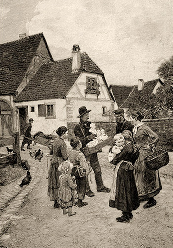 sw Gemäldefoto: Händler bietet Leuten auf Dorfstraße Gipsbüsten an - 1896