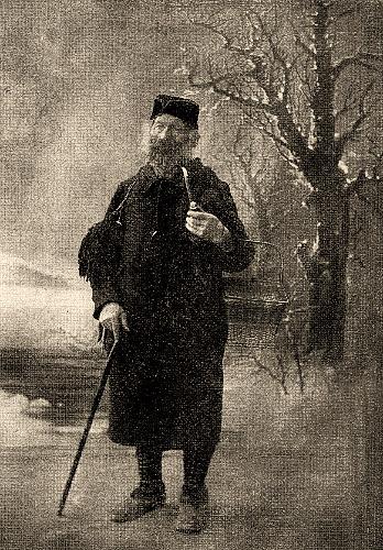 sw Gemäldefoto: Hottinger Tabakpfeife rauchend mit Gehstock unterwegs in Winterlandschaft - 1908