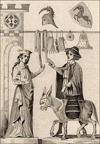 Stahlstich: Händler zeigt Burgfrau seine Waren