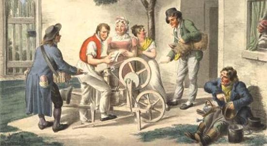 Farblitho: Wiener Wanderarbeiter in Aktion vor Hauseingang - 1820