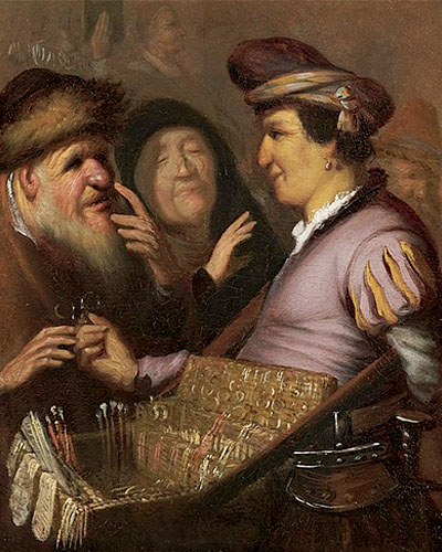 Gemälde: Händler mit Kneiferbrillen im Bauchladen, die er älteren Leuten anbietet - 1625