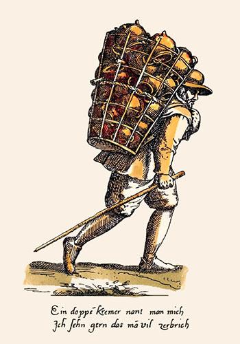 kolorierter Holzstich: Töpferwarenhändler mit Rückentragekorb - 1750