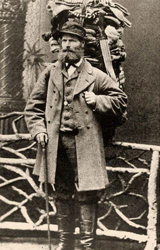 sw Foto: Studioaufnahme eines bärtigen Händlers vor künstlicher Kulisse - 1880