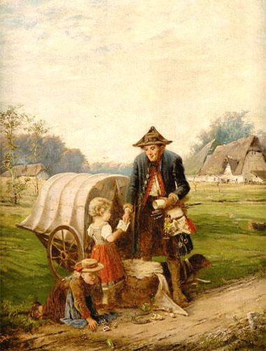 Gemälde: Hund liegt vor Karren auf Wiese am Wegrand, während sich Kinder für Spielkram des Händlers interessieren - 1880