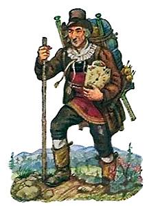 Oblatenbild: Mann mit Wanderstock trägt Uhren in Rückenkraxe - 1880
