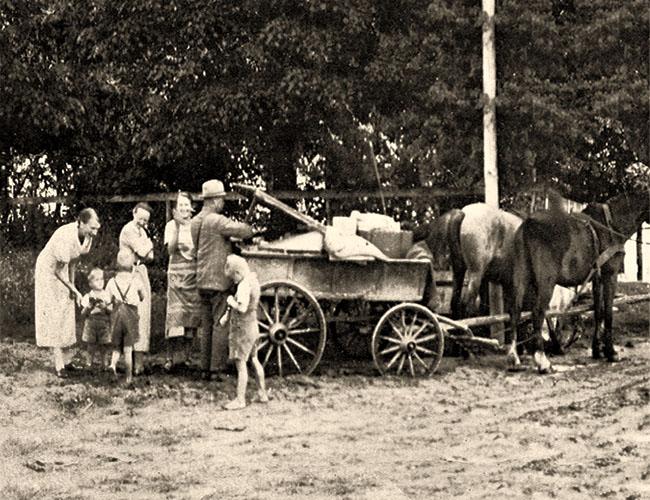 sw Foto: polnischer Hausierer mit Pferdefuhrwerk - 1930