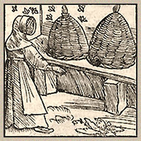 Holzschnitt: Imkerin trägt langes Gewand und Haube mit Korbgeflecht vorm Gesicht
