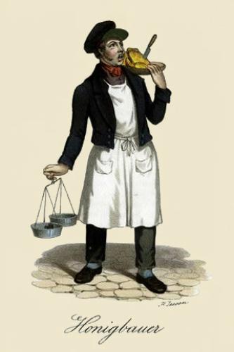 Farblitho: Mann trägt Honigwaben und Bügelwaage
