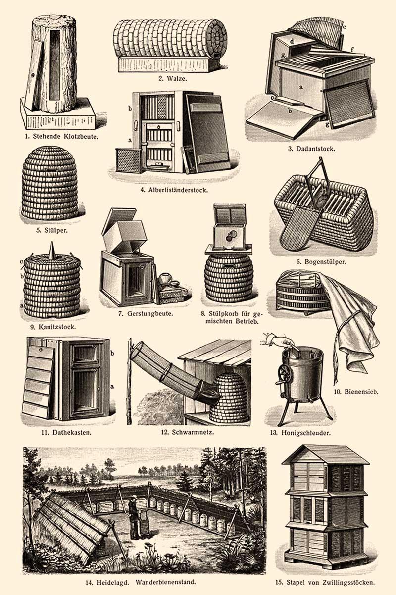 Grafik: zeigt verschiedene Körbe und Stöcke zur Bienenzucht