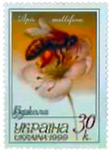 Briefmarke: Biene auf Blüte