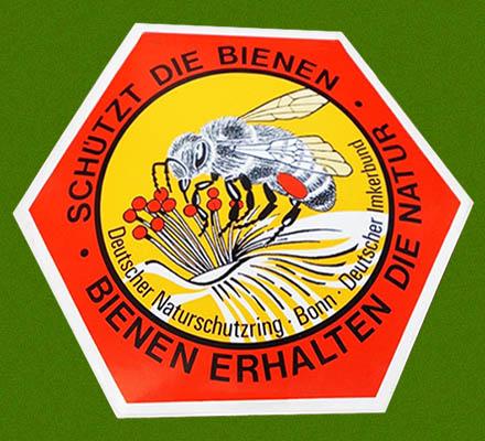 Aufkleber: Biene in Wabe mit umlaufendem Slogan (Schützt die Bienen - Bienen erhalten die Natur)