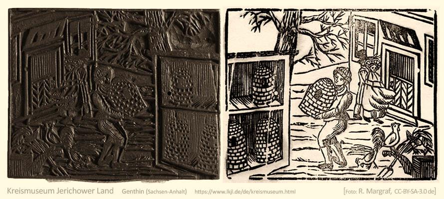 Farbfoto: Imker auf Bauernhof, Holzdruckstock und Druck - um 1800