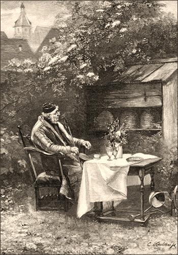 Kupferstich: alter Imker mit langer Pfeife an Tisch neben Bienenstöcken im Garten sitzend