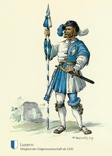 Aquarell: Mann in blau-weißer Arbeitstracht