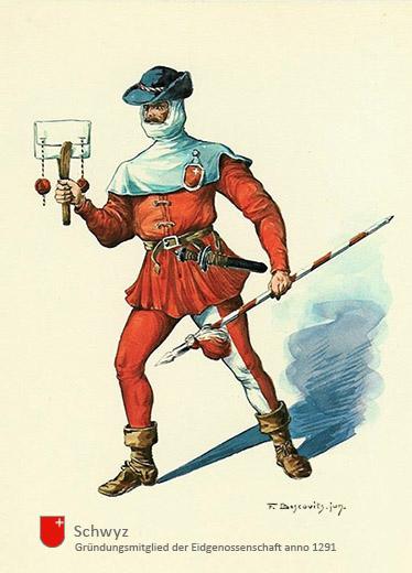 Aquarell: Mann in rot-weißer Arbeitstracht