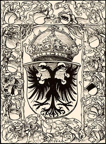 Kupferstich: Wappentafel der Eidgenossenschaft - 1507