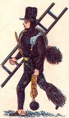 alte Illustration: Kaminfeger mit Equipment