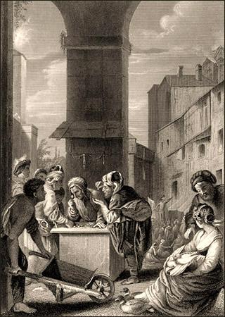 Stahlstich: mehrere Händler diskutieren mit Wechsler an dessen Pult auf öffentl. Platz - 1860
