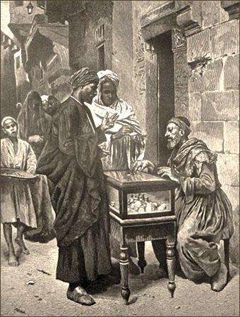 sw Gemäldefoto: 2 Männer mit Turban verhandeln mit an verglastem Geldtisch sitzenden Wechsler - 1879